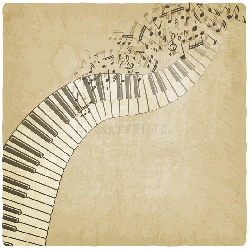 Fondo del vintage con el piano stock de ilustración