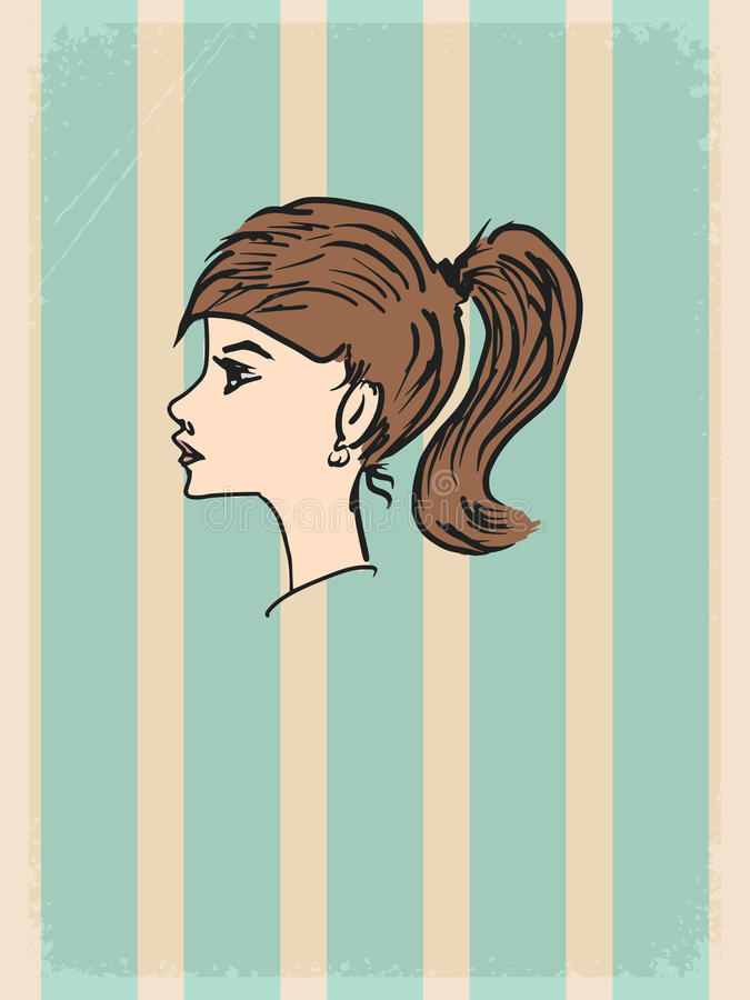 Fondo del vintage con la chica joven stock de ilustración
