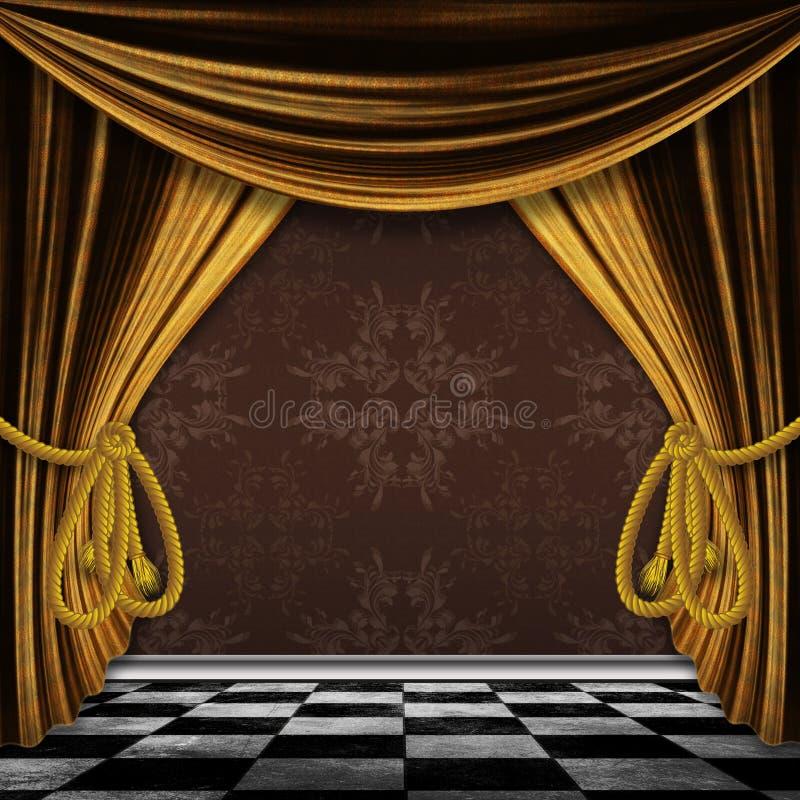 Fondo del vintage con las cortinas del oro libre illustration