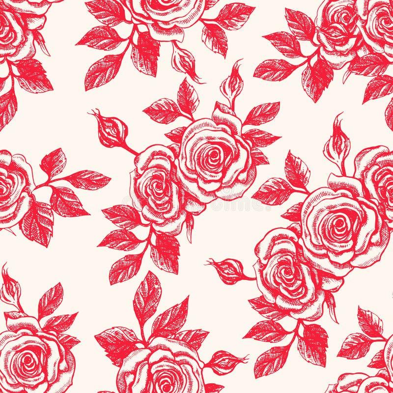 Fondo del vintage con las rosas rojas stock de ilustración