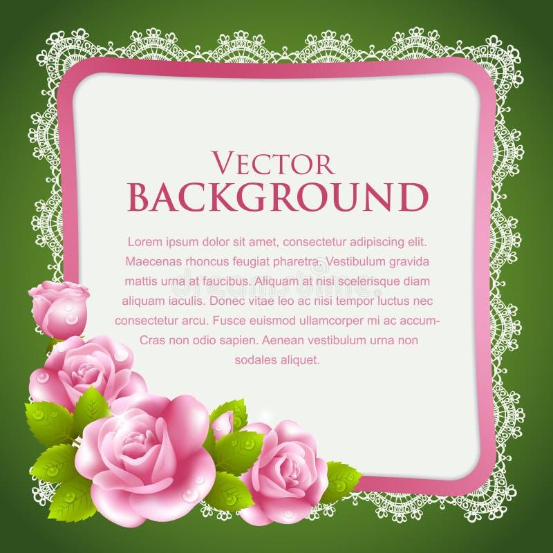 Fondo del vintage con las rosas y el cordón stock de ilustración