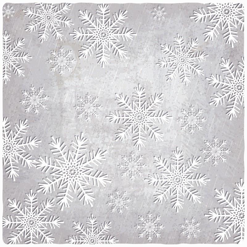 Fondo del vintage con los copos de nieve del papel del recorte stock de ilustración