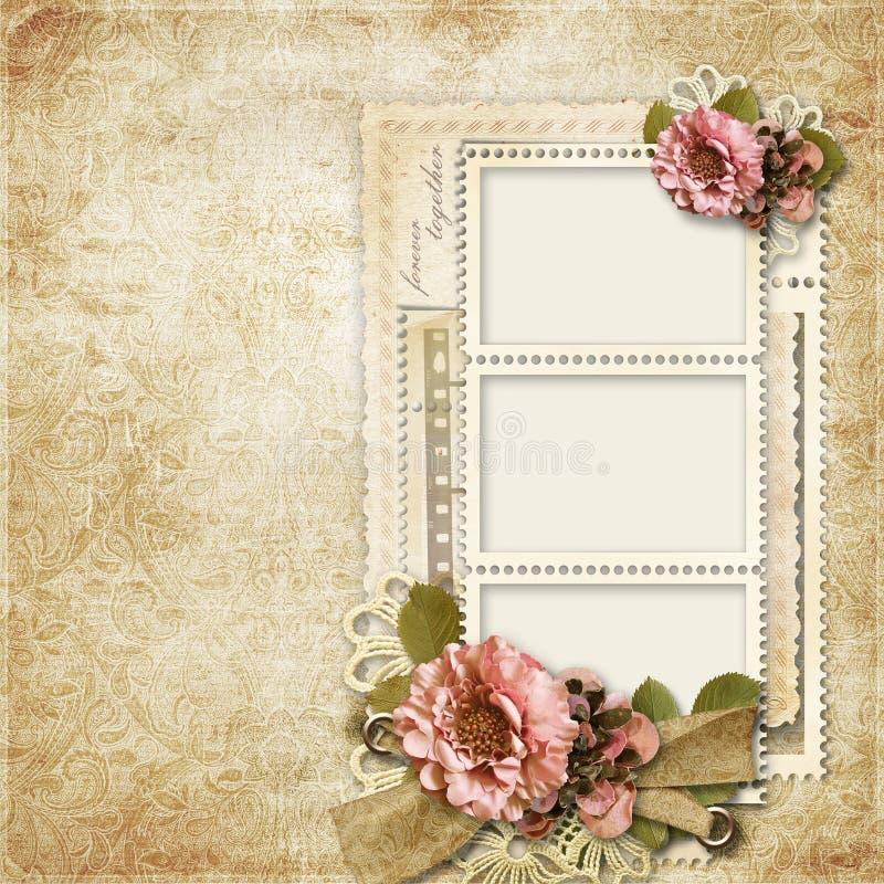 Fondo Del Vintage Con Los Marcos Para Las Fotos Y Las Flores Stock ...