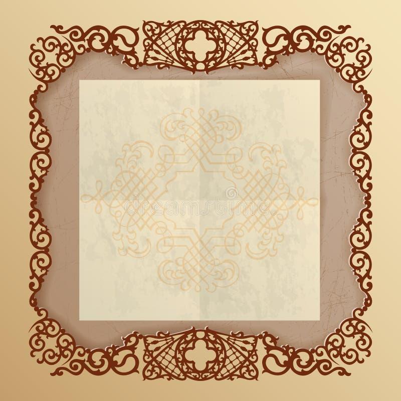 Fondo del vintage con los ornamentos del arabesque stock de ilustración