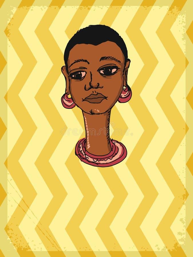 Fondo del vintage con motivo africano ilustración del vector