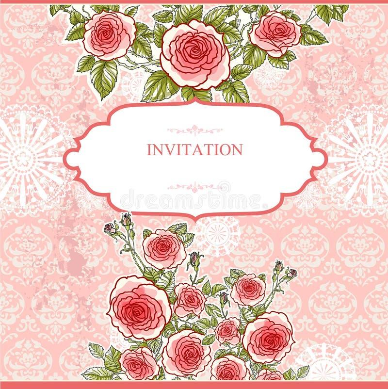 Fondo del vintage de la boda con las rosas ilustración del vector