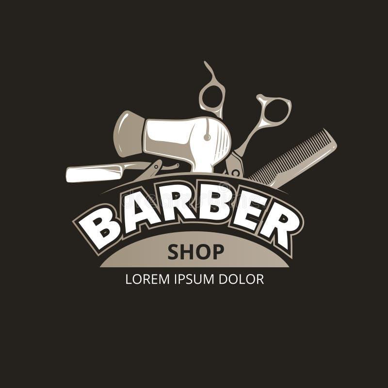 Fondo del vintage de la peluquería de caballeros stock de ilustración