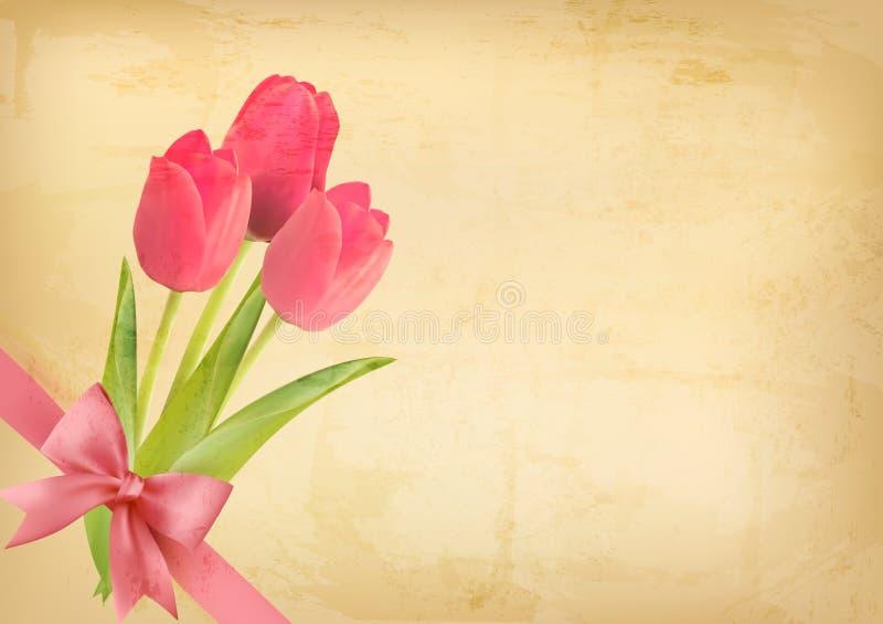 Fondo del vintage del día de fiesta con las flores rosadas stock de ilustración
