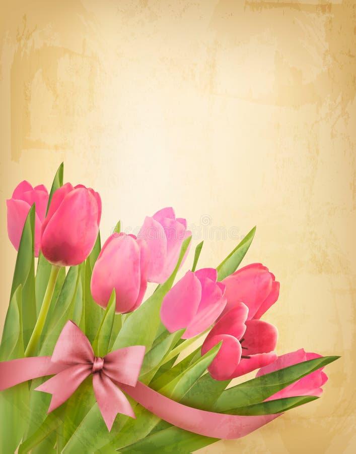 Fondo del vintage del día de fiesta con las flores rosadas y g ilustración del vector