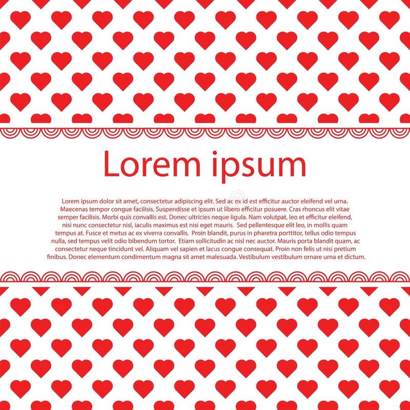 Fondo del vintage del día de tarjetas del día de San Valentín con los corazones y la raya rojos del texto foto de archivo