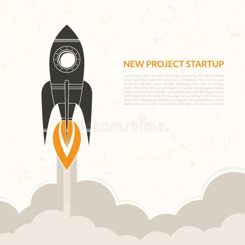 Fondo del vintage del lanzamiento del cohete de espacio stock de ilustración