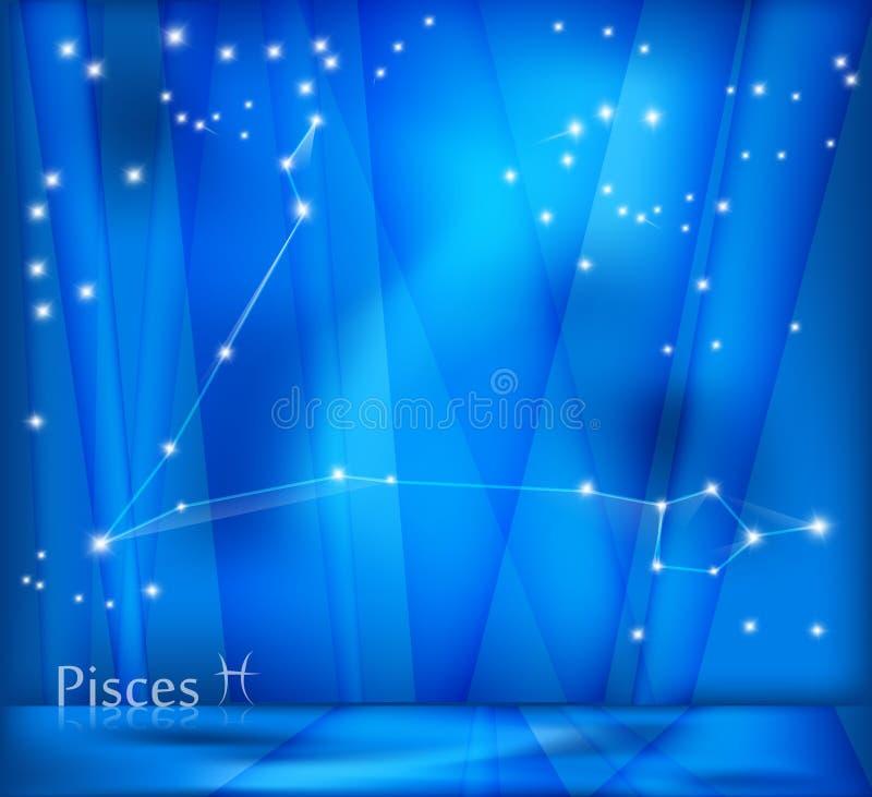 Fondo del zodiaco de Piscis ilustración del vector