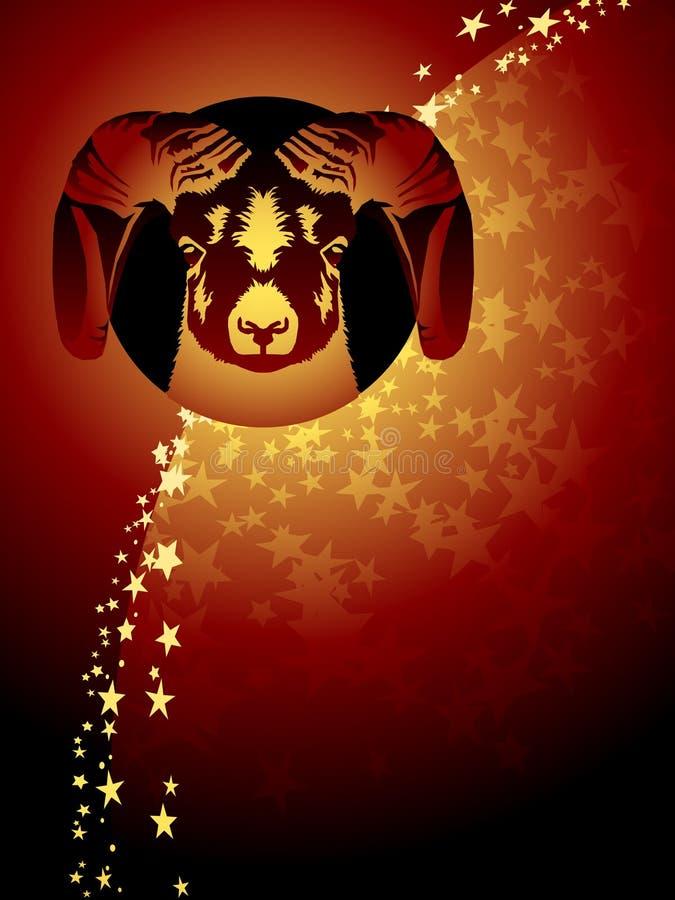 Fondo del zodiaco del aries ilustración del vector