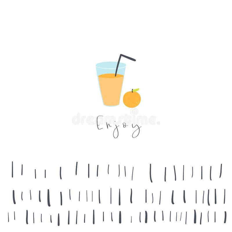 Fondo del zumo de naranja con el espacio del texto, elementos abstractos Tarjeta, postal, cartel sobre viajar, vacaciones, ocio stock de ilustración