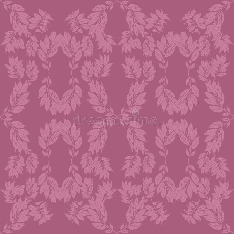 Fondo delicato di rosa della lavanda con il motivo della pianta fotografia stock