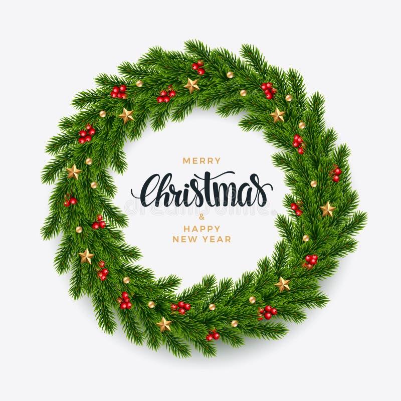 Fondo dell'abete di Natale, sguardo realistico, progettazione di festa royalty illustrazione gratis