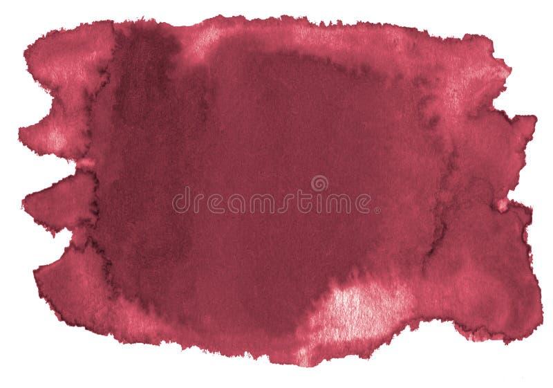 Fondo dell'acquerello dei colori d'avanguardia di rosso persiano con i confini ed i divorzi taglienti Macchie della spazzola dell royalty illustrazione gratis