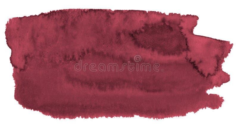Fondo dell'acquerello dei colori d'avanguardia di rosso persiano con i confini ed i divorzi taglienti Macchie della spazzola dell illustrazione di stock