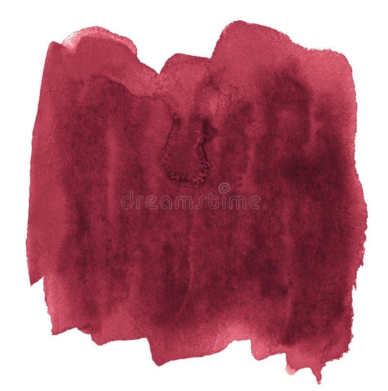 Fondo dell'acquerello dei colori d'avanguardia di rosso persiano con i confini ed i divorzi taglienti Macchie della spazzola dell illustrazione vettoriale