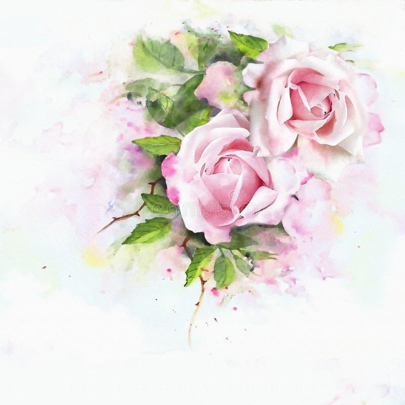 Fondo dell'acquerello delle rose illustrazione di stock