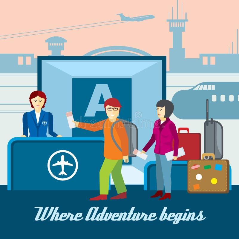 Fondo dell'aeroporto nello stile piano Vettore di viaggio illustrazione vettoriale