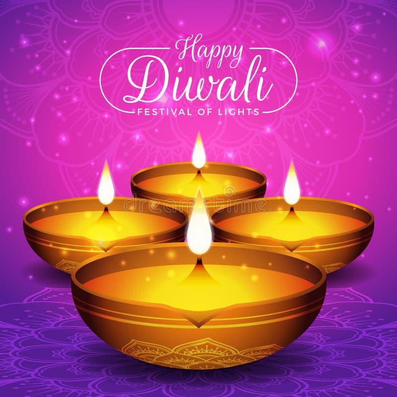 Fondo dell'aletta di filatoio e del manifesto di festival di Diwali illustrazione vettoriale