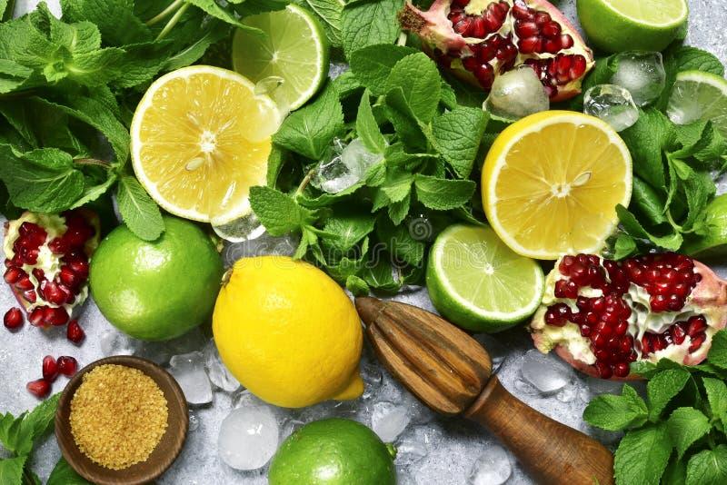 Fondo dell'alimento con gli ingredienti per produrre la limonata dell'agrume top fotografia stock
