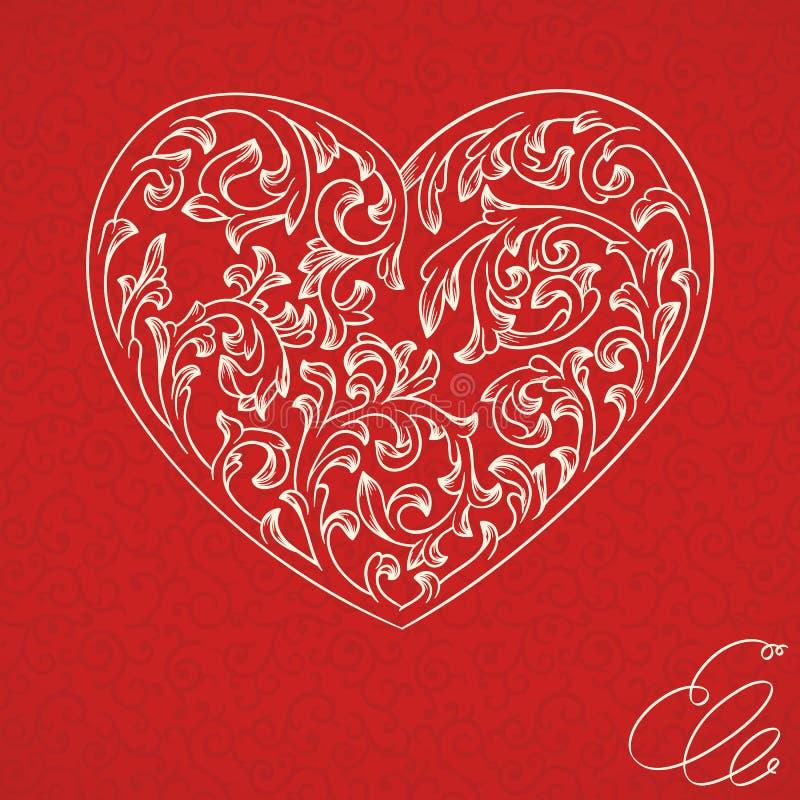 Fondo dell'annata del biglietto di S. Valentino illustrazione di stock