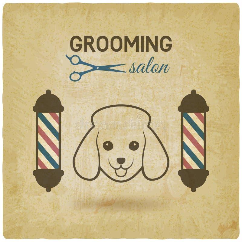 Fondo dell'annata di progettazione di logo del salone governare dell'animale domestico royalty illustrazione gratis