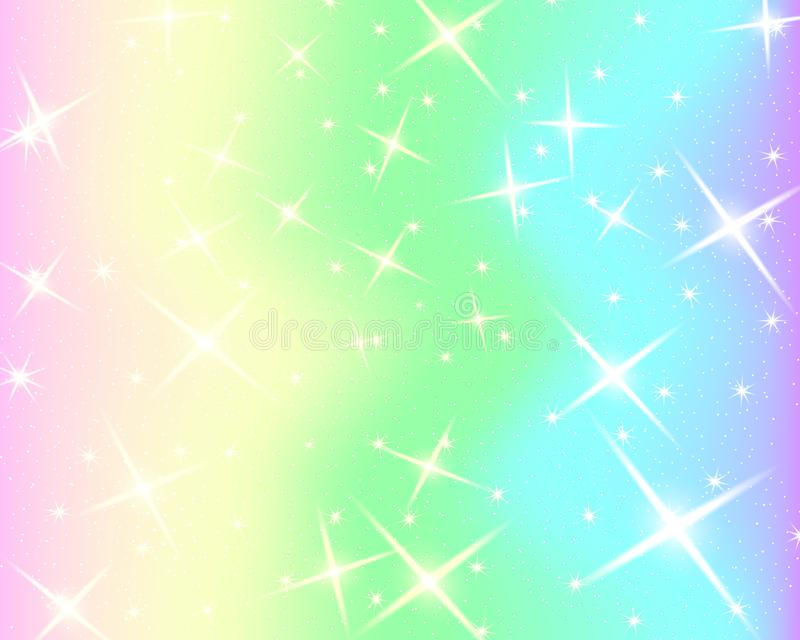 Fondo dell'arcobaleno dell'unicorno Cielo olografico nel colore pastello Modello luminoso della sirena nei colori di principessa  illustrazione vettoriale