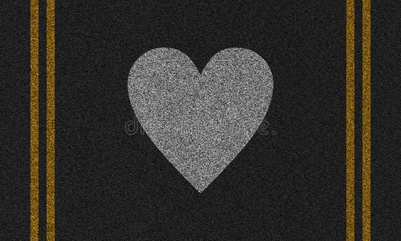 Fondo dell'asfalto con cuore dipinto fotografie stock libere da diritti