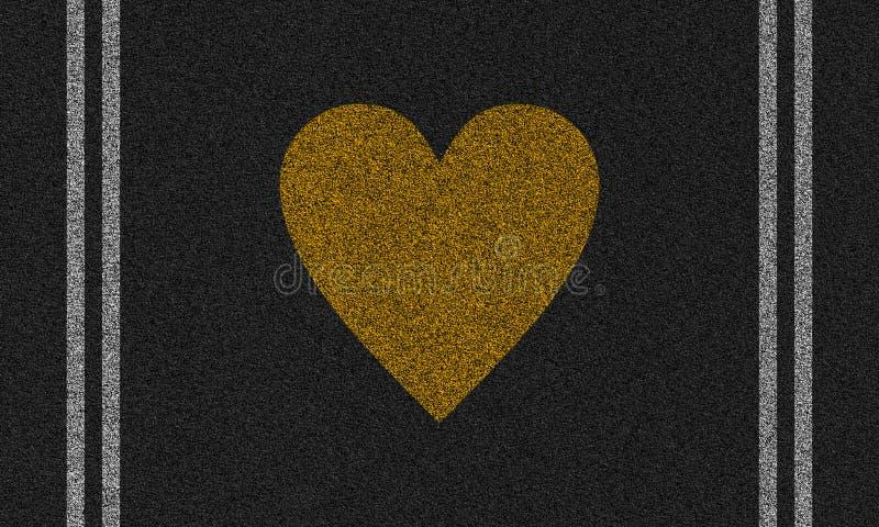 Fondo dell'asfalto con cuore dipinto illustrazione vettoriale