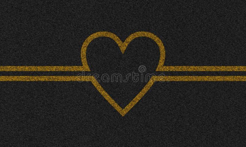 Fondo dell'asfalto con cuore dipinto illustrazione di stock