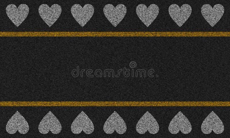 Fondo dell'asfalto con i cuori dipinti illustrazione vettoriale