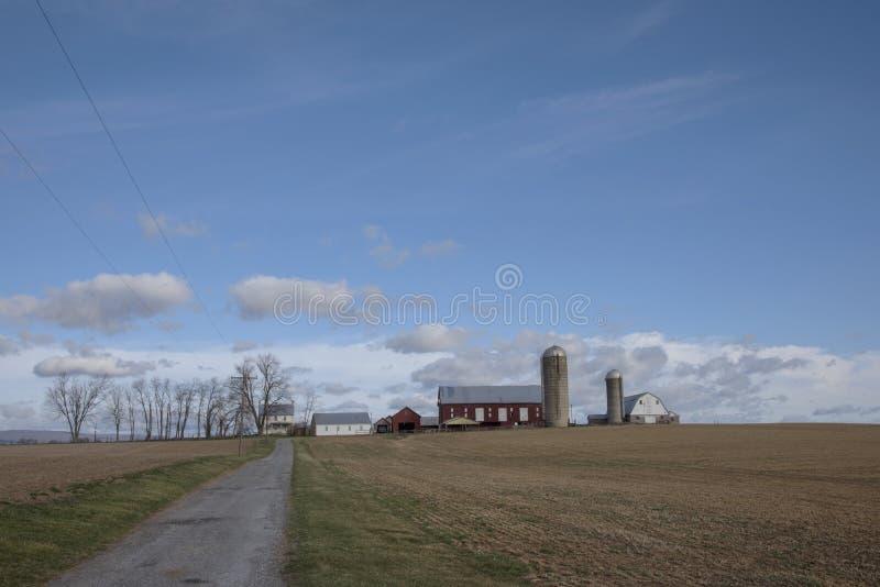 Fondo dell'azienda agricola con copyspace immagini stock libere da diritti