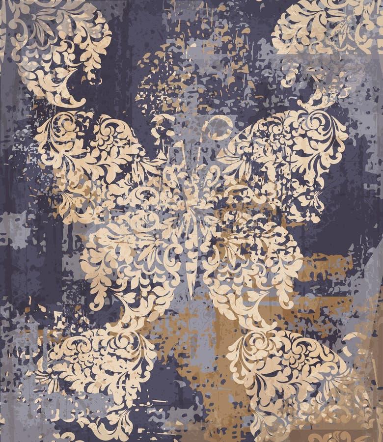 Fondo dell'elemento del tessuto della decorazione della farfalla Strutture dell'annata di lerciume di vettore illustrazione vettoriale