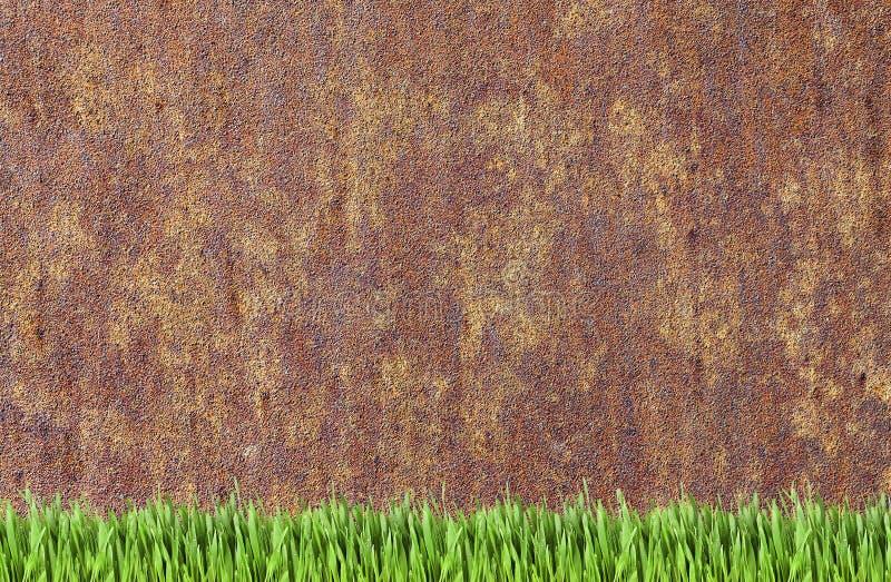 Fondo dell'erba verde e della parete arrugginita fotografia stock libera da diritti
