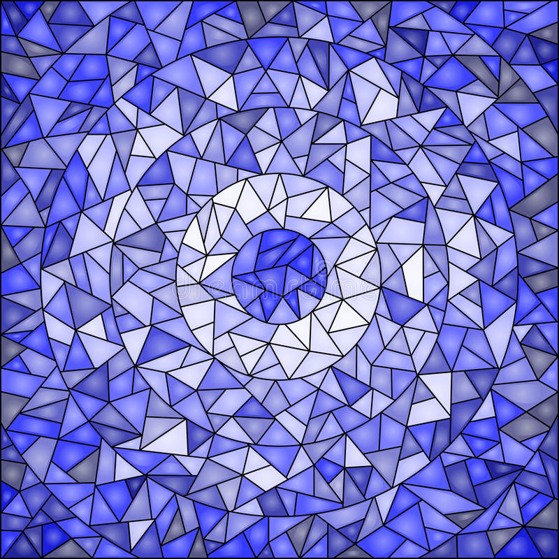 Fondo dell'estratto dell'illustrazione del vetro macchiato, blu di gamma illustrazione di stock
