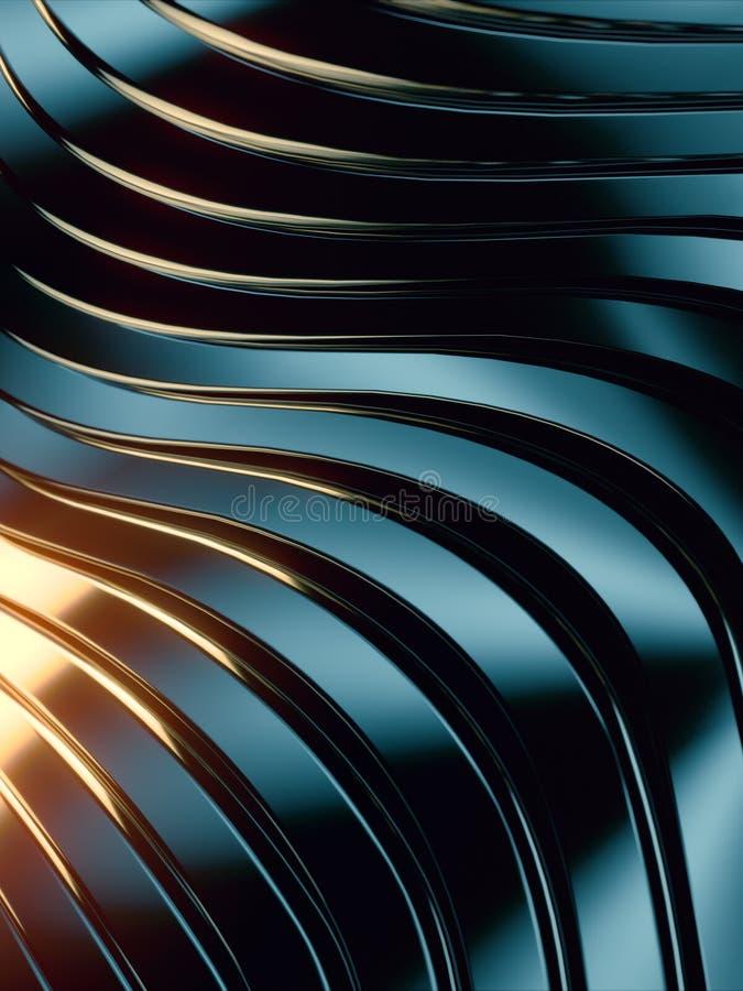 Fondo dell'estratto della banda di Wave Riflessioni colorate luminose su superficie metallica scura rappresentazione 3d illustrazione vettoriale