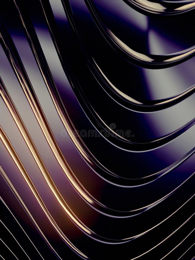 Fondo dell'estratto della banda di Wave Riflessioni colorate luminose su superficie metallica scura rappresentazione 3d illustrazione di stock