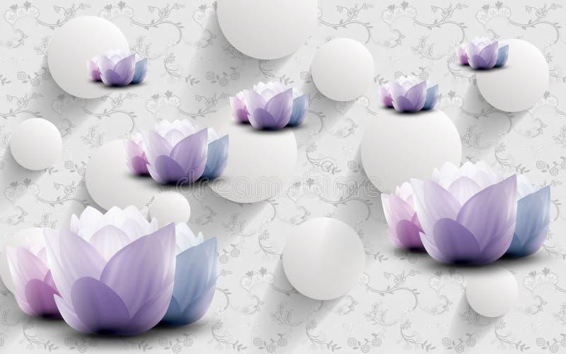 fondo dell'estratto della carta da parati della rappresentazione 3d con i cerchi bianchi grigi ed i fiori rosa porpora grigi e de illustrazione vettoriale
