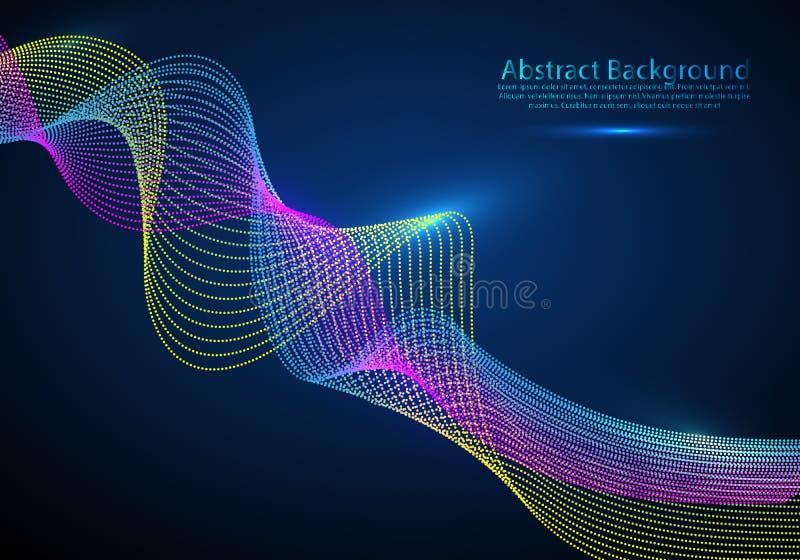 Fondo dell'estratto di flusso della particella Onda sonora Flusso di dati royalty illustrazione gratis