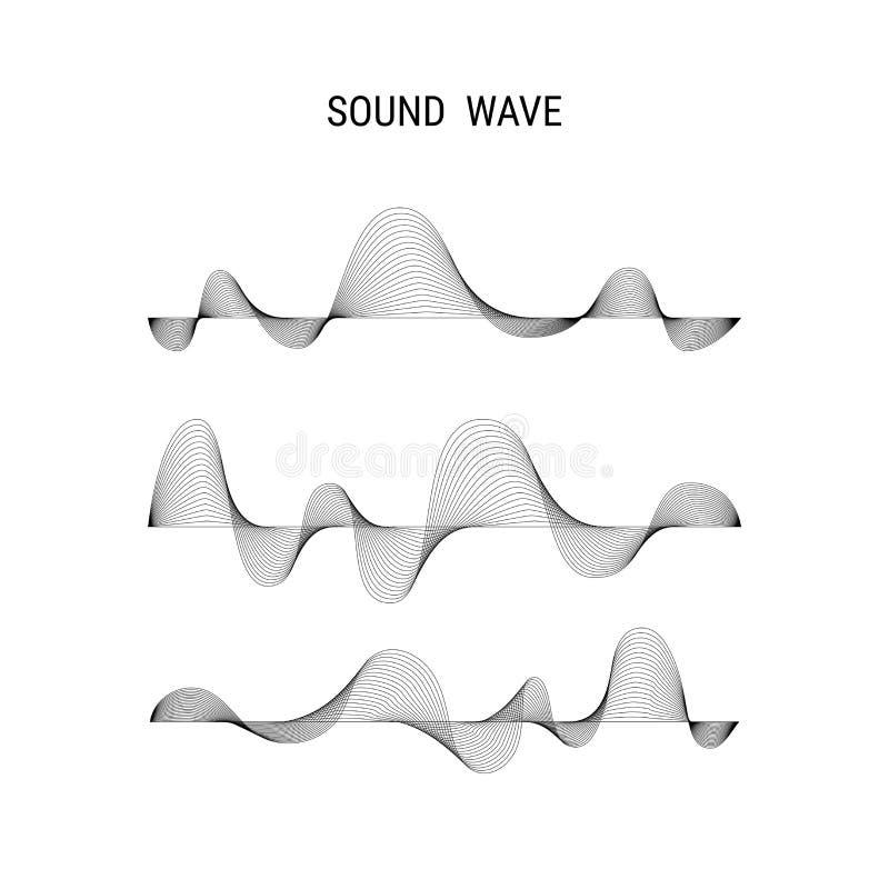 Fondo dell'estratto di vettore del manifesto di musica con le onde sonore dinamiche illustrazione vettoriale