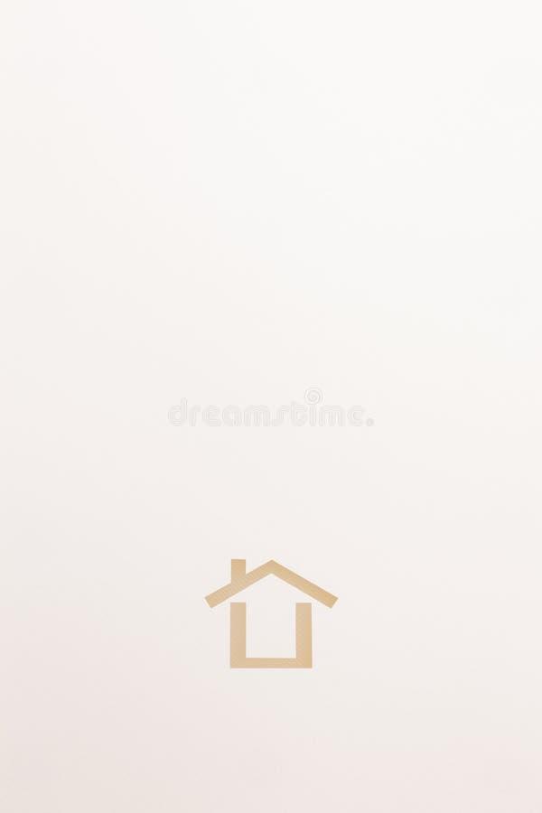 Fondo dell'icona minima strutturata bianca della casa fotografie stock