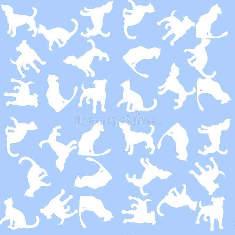 Fondo dell'illustrazione con i cani ed i gatti Reticolo senza giunte royalty illustrazione gratis