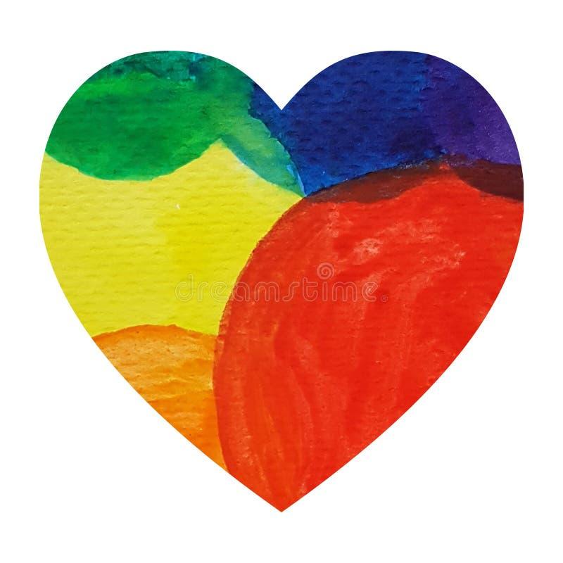 Fondo dell'illustrazione di tiraggio della mano del cuore dell'arcobaleno dell'acquerello royalty illustrazione gratis