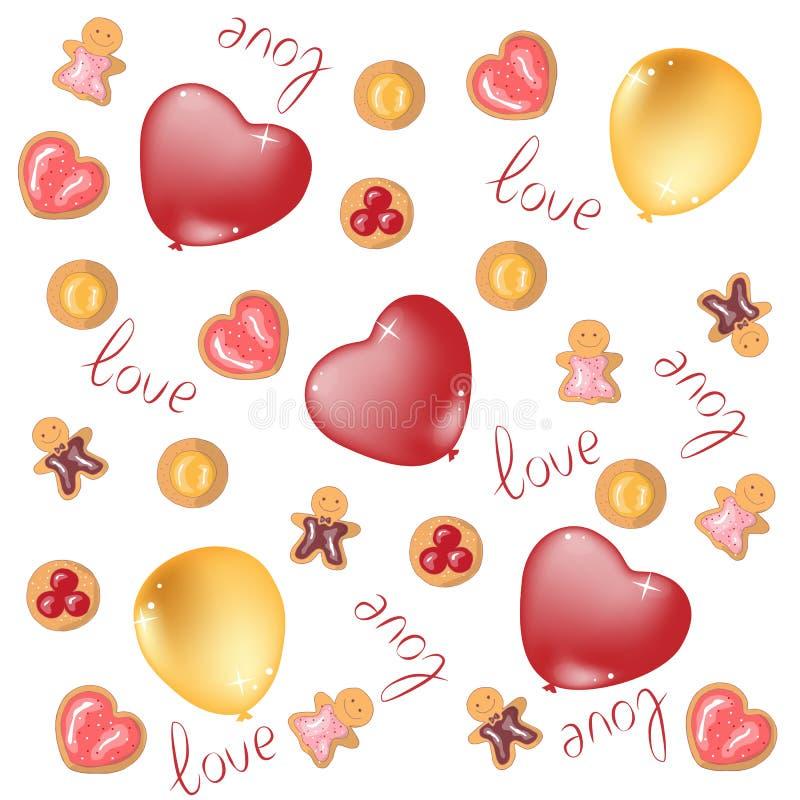 Fondo dell'illustrazione di vettore per il San Valentino Per carta d'imballaggio, coperture, involucri, autoadesivi, gioielli, de illustrazione vettoriale