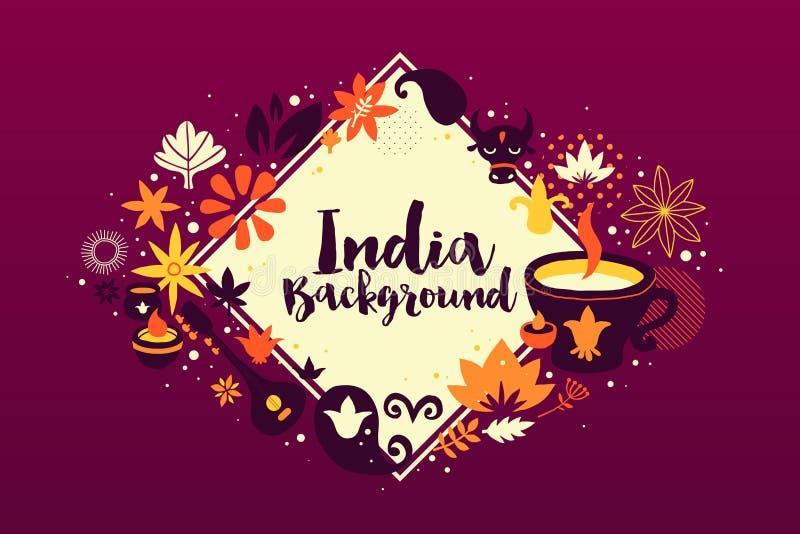 Fondo dell'India/modello dell'insegna con gli elementi astratti, floreali e nazionali royalty illustrazione gratis