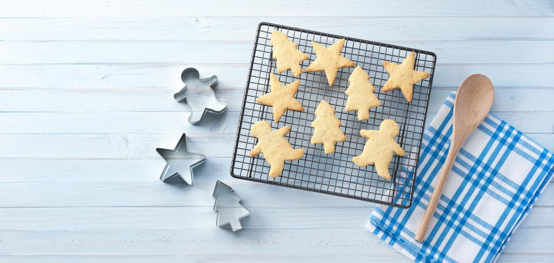 Fondo dell'insegna dei biscotti di Natale immagine stock libera da diritti