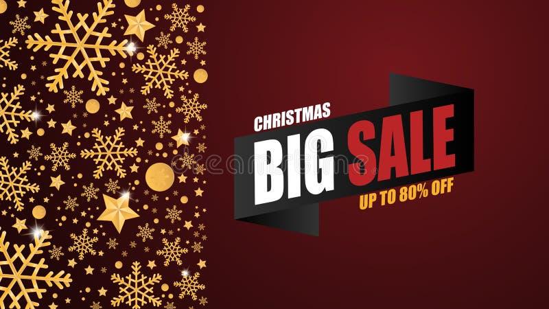 Fondo dell'insegna di vendita di Natale con i fiocchi dorati della neve e decorazione su fondo rosso nello stile tagliato di cart illustrazione di stock